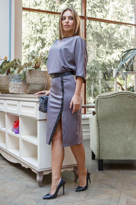 Костюм 19-108 юбка + блуза мокко-джерси. Купить оптом и в розницу