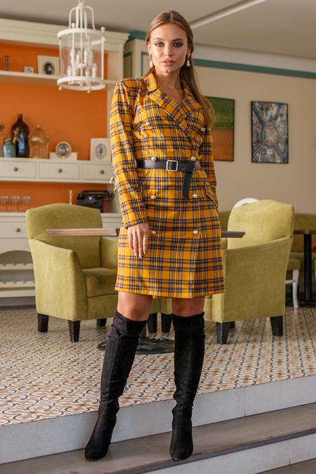 Платье 19-121 пиджак горчица. Купить оптом и в розницу