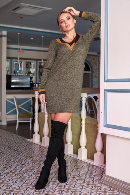 Платье 19-118 ангора мыс хаки. Купить оптом и в розницу