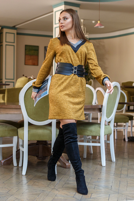 Платье 19-118 ангора мыс горчица. Купить оптом и в розницу