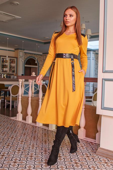 """Платье 19-116 """"полусолнце"""" горчица. Купить оптом и в розницу"""