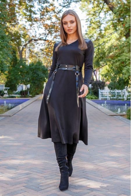 """Платье 19-116 """"полусолнце"""" черное. Купить оптом и в розницу"""