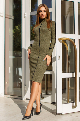Платье 19-114 футляр хаки