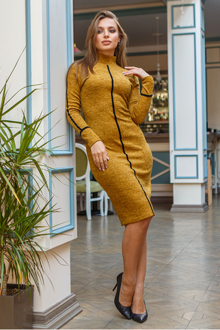 Платье 19-114 футляр горчица. Купить оптом и в розницу