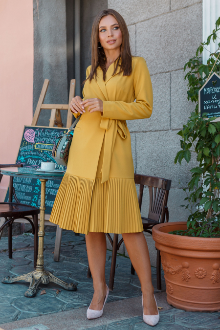 Платье 19-98 жакет на запах горчица. Купить оптом и в розницу