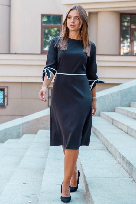 Платье 19-102 с лямовкой черное. Купить оптом и в розницу