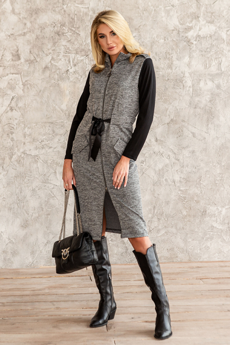 Платье 20-074-9 со змейкой и клапанами серый