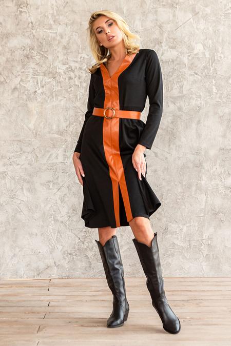 Платье 20-078-3 трикотаж с вставкой из эко-кожи