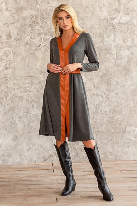 Платье 20-078-9 трикотаж с вставкой из эко-кожи