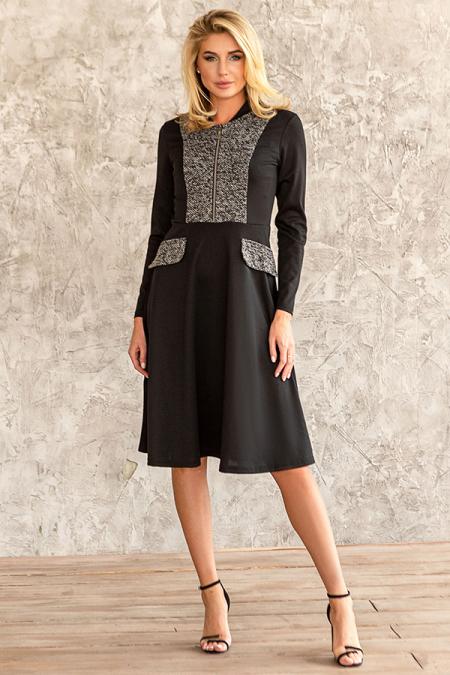 Платье 20-073-3 букле черное