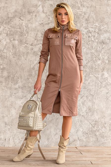 Платье 20-079-30 с клапанами капучино