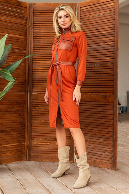 Платье 20-079-31 с клапанами терракот