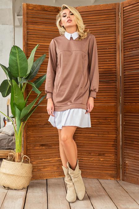 Платье 20-082-30 с имитацией рубашки капучино