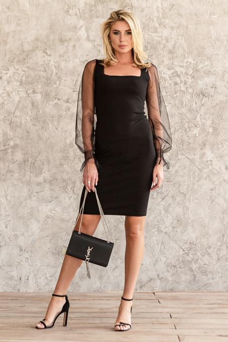 Платье 20-087-3 футляр квадратный вырез