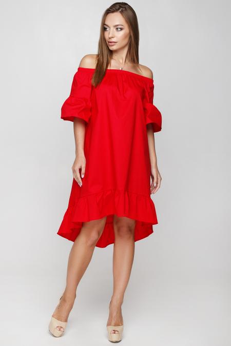 Платье 18-53 крестьянка шлейф красный