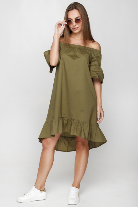 Платье 18-53 крестьянка шлейф хаки