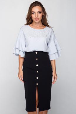 Блуза 18-57 с жемчужной отделкой серая