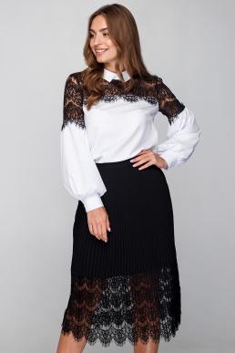 Блуза 18-60 ресница с воротником белая с черным