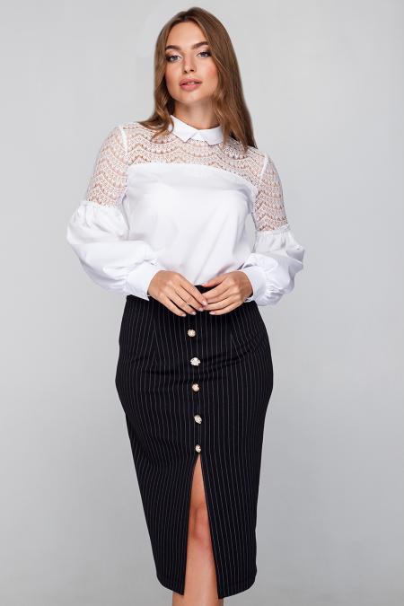 Блуза 18-60 ресница с воротником белая