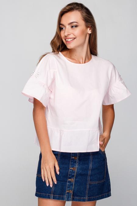 Блуза 18-75 свободная с жемчугом пудра