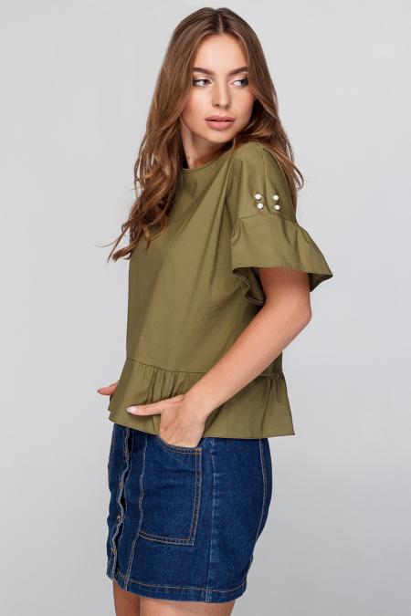 Блуза 18-75 свободная с жемчугом хаки