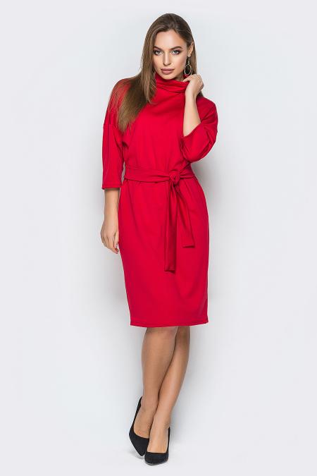 Платье 19-09 спущенные плечи с отворотом красное. Купить оптом и в розницу