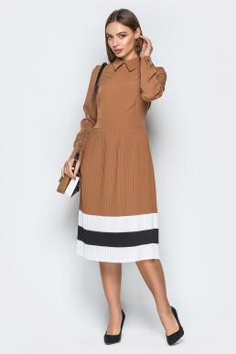Платье 19-25 плиссе полосы песочный
