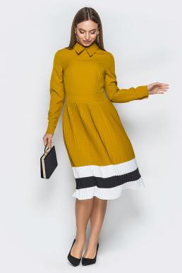 Платье 19-25 плиссе полосы горчичный