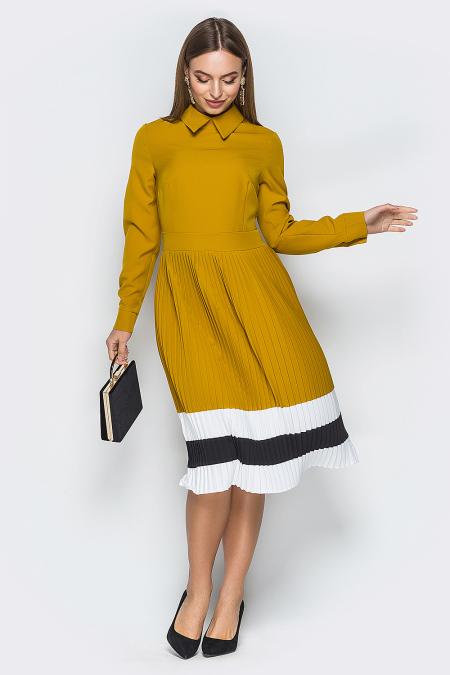 Платье 19-25 плиссе полосы горчичный. Купить оптом и в розницу