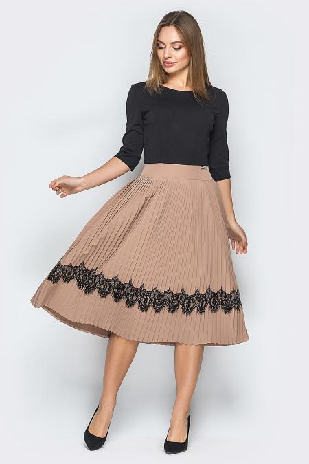 Платье 18-73 плиссе с ресницей беж. Купить оптом и в розницу