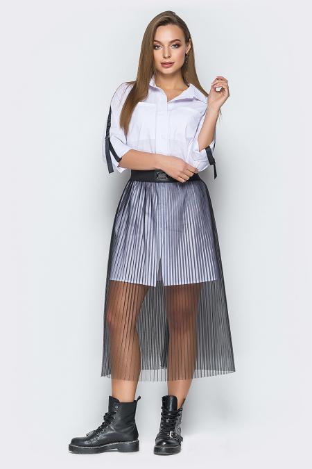 Платье-рубашка 19-10 юбка фатин. Купить оптом и в розницу