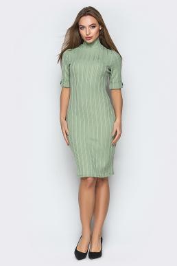 Платье 19-15 гольф в рубчик оливковый