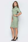 Платье 19-15 гольф в рубчик оливковый. Купить оптом и в розницу