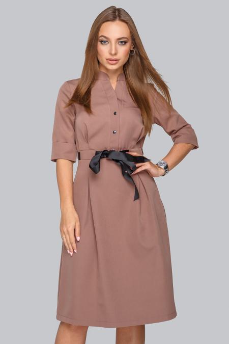 Платье 19-83 воротник стойка ,капучино. Купить оптом и в розницу