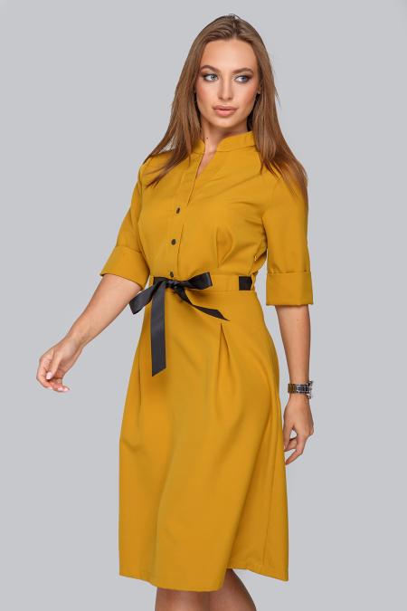 Платье 19-83 воротник стойка ,горчица. Купить оптом и в розницу