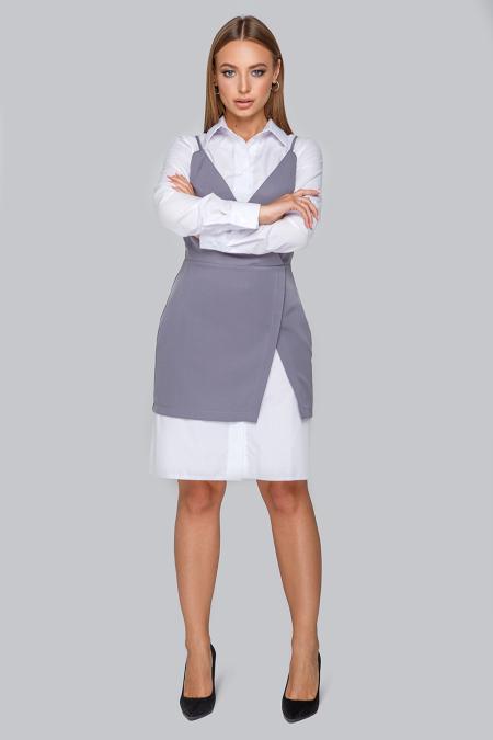 Костюм 19-86 платье-рубашка и приталенный сарафан серый. Купить оптом и в розницу