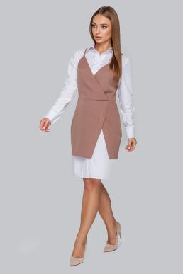 Костюм 19-86 платье-рубашка и приталенный сарафан капучино