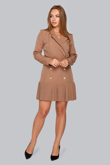 Платье 19-47 пиджак с плиссе карамель. Купить оптом и в розницу
