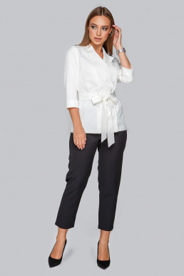 Блуза 19-91 пиджак из мемори коттона молоко