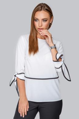 Блуза 19-92 белая с черным кантом