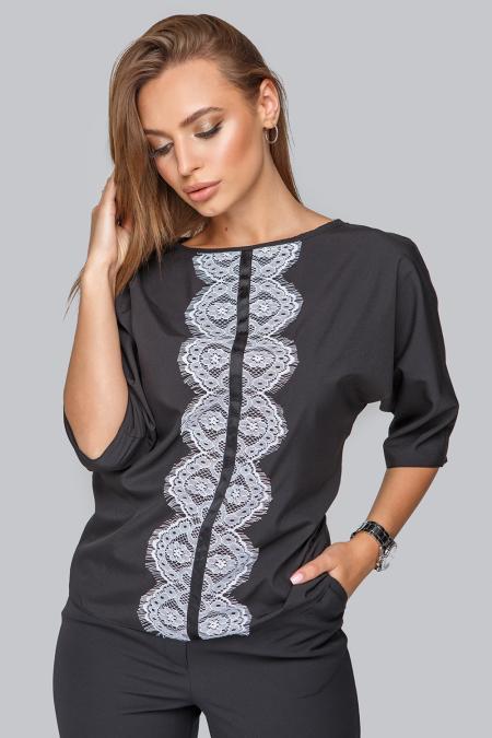 Блуза19-85 черная с кружевом, по центру репсовая лента. Купить оптом и в розницу