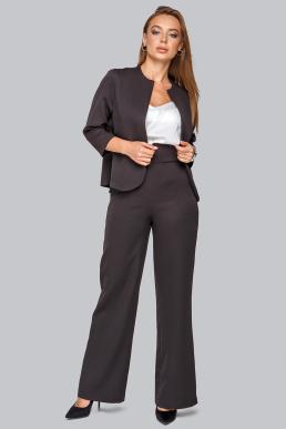 Костюм 19-95 тройка жакет брюки и майка из софта черный