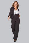 Костюм 19-95 тройка жакет брюки и майка из софта черный. Купить оптом и в розницу