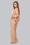 Костюм 19-95 тройка жакет брюки и майка из софта бежевая карамель. Купить оптом и в розницу
