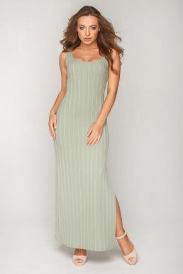 Платье 19-81 рубчик в пол оливка