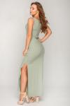 Платье 19-81 рубчик в пол оливка. Купить оптом и в розницу