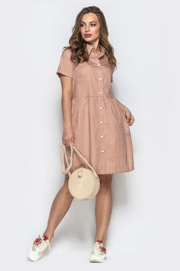 Платье 19-48 с карманами горох беж