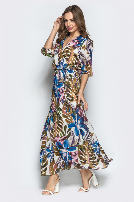 Платье 19-52 шифон длинное фиолетовые цветы. Купить оптом и в розницу