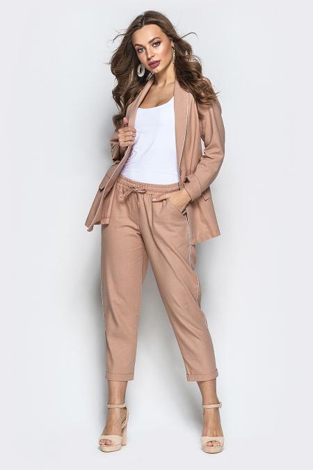 Костюм 19-49-1 пиджак-брюки лен беж. Купить оптом и в розницу