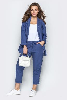 Костюм 19-49 пиджак-брюки лен синий